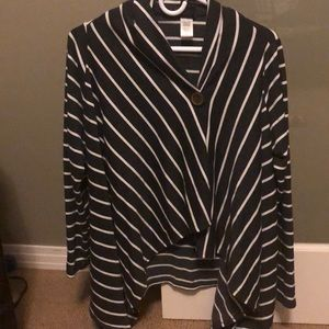 Bobeau striped wrap sweater Nordstrom Large